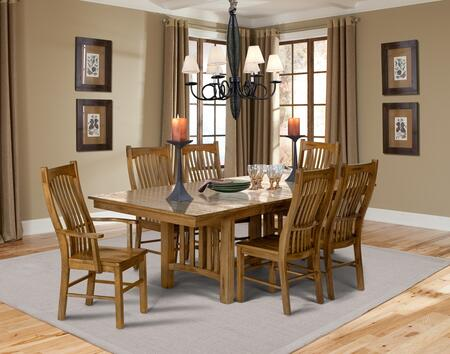 Laurelhurst Collection LAUROTT4SC2AC 7-Piece Dining Room Set with Trestle Table  4x Side Chairs and 2x Arm Chairs in Rustic