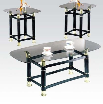 02125 Greenfield 3 PC Clear Glass Top Table Set with 2 End Tables  Coffee Table  Polished Brass Accents  Turned Legs and Stretchers in Black