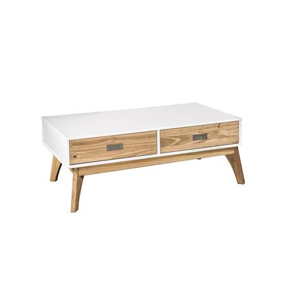 CS96808 Rustic Mid-Century Modern 2-Drawer Jackie 1.0 Coffee Table In White And Natural
