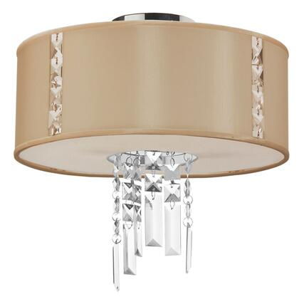 RTA-12SF-PC-839 2 Light Semi Flush With Crystal Accents  Polished Chrome Finish  Cream Drum Shade With Fabric