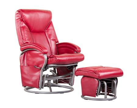 D80096PG17 Red Reclining Glider  with Swivel and Locking Mechanism Complete with Free Ottoman - Bonded
