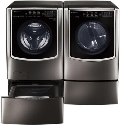 Black Stainless Steel Washer and Dryer Package with WM9500HKA Washer  DLGX9501K Gas Dryer  WDP5K Pedestal  WD205CK SideKick Washer Pedestal and AM501YWM1 Air