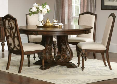 Ilana Collection 122250-S5 5-Piece Dining Room Set with Round Dining Table and 4 Side Chairs in Antique
