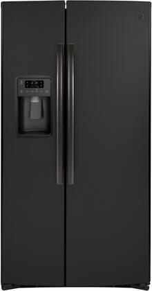 GSS25IENDS 36 Side by Side Refrigerator with 25.14 cu. ft. Total Capacity  Showcase LED Lighting and Hidden Hinge in Black