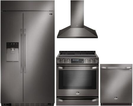 Studio Series 4-Piece Kitchen Package With LSSB2696BD 42 inch  Built In Side by Side Refrigerator  LSSE3029BD 30 inch  Slide-in Electric Range  LSHD3089BD 30 inch  Wall Mount