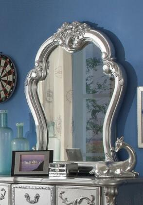Dresden Collection 30684 35 inch  x 41 inch  Mirror with Beveled Edge  Poly Resin Ornamental Details and Solid Wood Construction in Silver