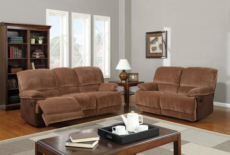 U9968-Chmp Br Sugar/MF101-SLR 3 Piece Microfiber Reclining Livingroom Set in Brown Sugar  Sofa + Loveseat +