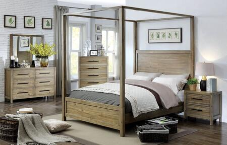CM7355CKBEDDMNC 5-Pieces Bedroom Set with California King Size Bed + Dresser + Mirror + Nightstand + Chest Drawer  in Light