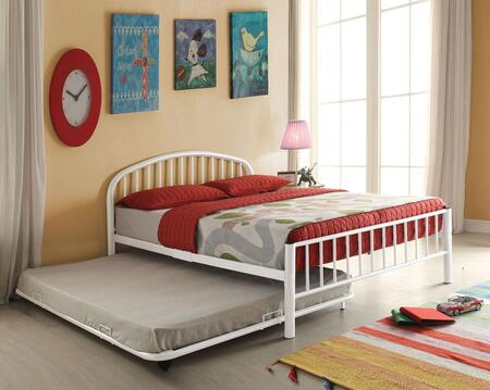 Cailyn Collection 30460T-WHTRN Twin Size Trundle Bed with Slat System Included  Curved Headboard  Low Profile Rectangular Footboard and Metal Tube Material in