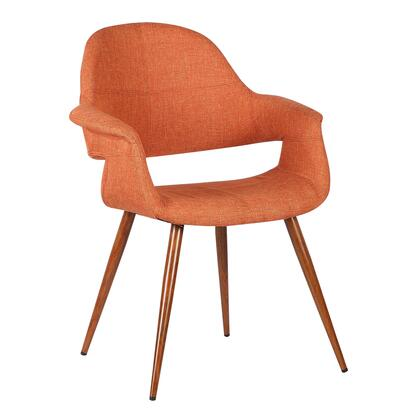 Phoebe Collection LCPHSIWAOR Dining Chair with Mid-Century Modern Style  Padded Armrests  Walnut Veneer Tapered Legs and Polyester Fabric Upholstery in Orange