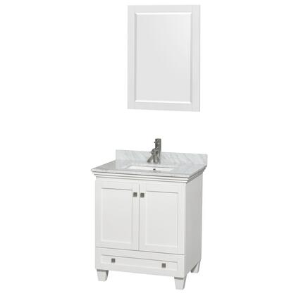 WCV800030SWHCMUNSM24 30 in. Single Bathroom Vanity in White  White Carrera Marble Countertop  Undermount Square Sink  and 24 in.