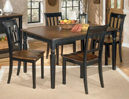 D5802502 Owingsville Rectangular Dining Room Table with Four Chairs  Glued and Screwed Corner Block Construction in Two