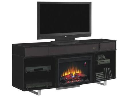 Enterprise Collection 26MMS9872-NB03 72 inch  TV Stand with Integrated 2.1 Sound System  Remote Control  Touch-Latch Smoked Glass Doors and Meta Legs in High Gloss
