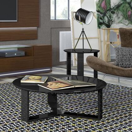 2-8505285152 2-Piece Table Set with Round End Table  Coffee Table  3-Sided  Geometric  Base and Gloss Lacquered Finish in Black
