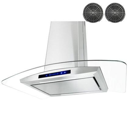 GIR0536P 36 inch  Island Mount Range Hood with 870 CFM  65 dB  Innovative Touch  LED Lighting  3 Fan Speed  Aluminum Grease Filter and Ductless: Stainless