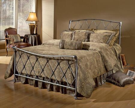 Silverton Collection 1298BKR King Size Bed with Headboard  Footboard  Rails  Decorative Latticework  Open-Frame Panel Design and Tubular Metal Construction in
