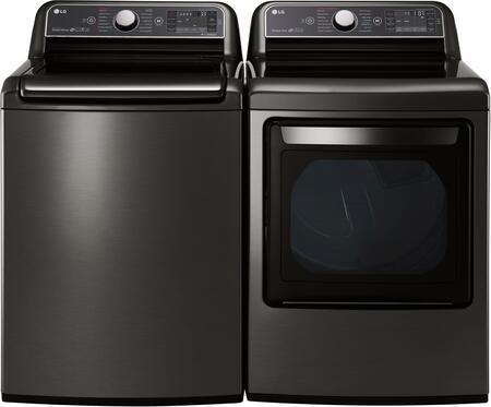 Black Stainless Steel Laundry Pair with WT7600HKA 27