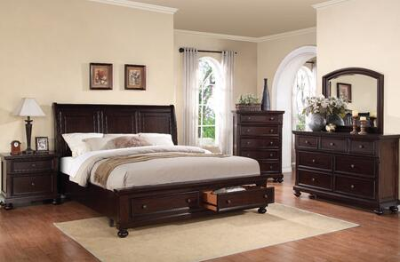 24610QDMCN Grayson Queen Size Storage Bed + Dresser + Mirror + Chest + Nightstand in Dark Walnut