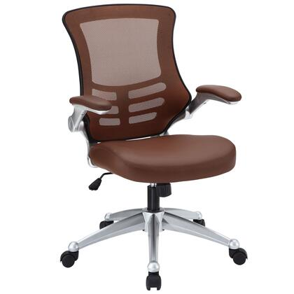 Attainment Collection EEI-210-TAN Office Chair with Adjustable Seat Height  Dual-Wheel Casters  Seat Tilt Tension Control  Mesh Back  Flip-Up Padded Arms and