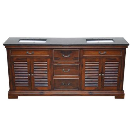 YVGD72DVNT 72 inch  Double Vanity with Black Granite Top  2 White Undermount Ceramic basins  2 Cabinets and 3 Middle Drawers in  Natural Teak Cabinet