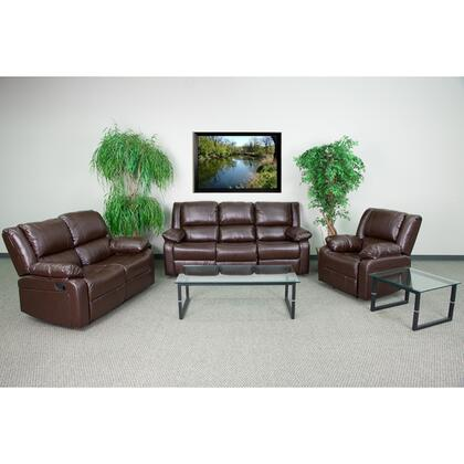 Harmony Series BT-70597-RLS-SET-BN-GG 3-Piece Living Room Set with Recliner  Reclining Loveseat and Reclining Sofa in