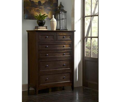 Westlake WSLDM5600 40 inch  6-Drawer Chest with Felt Lined Top Drawers  Full Extension Metal Glides and Gunmetal Hardware in Dark Mahogany