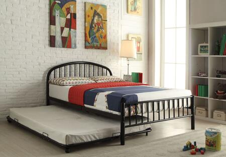Cailyn Collection 30460T-BKTRN Twin Size Trundle Bed with Slat System Included  Curved Headboard  Low Profile Rectangular Footboard and Metal Tube Material in