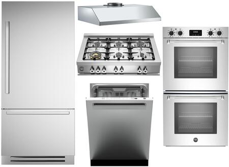 5-Piece Stainless Steel Kitchen Package with REF30PIXR 30 inch  Bottom Freezer Refrigerator  CB36600X 36 inch  Gas Cooktop  MASFD30XV 30 inch  Electric Double Wall Oven