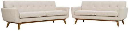 Engage Collection EEI-1348-BEI 2 PC Sofa and Loveseat Set with Cherry Tapered Legs  Rubberwood Frame Construction  White Plastic Foot Glides  Track Arms and