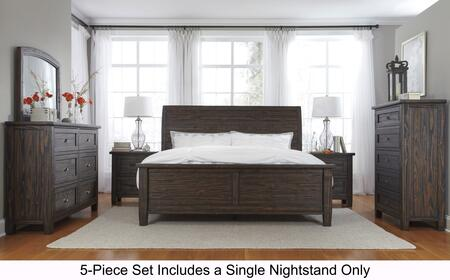 Trudell Queen Bedroom Set With Panel Bed  Dresser  Mirror  Single Nightstand And Chest In Dark