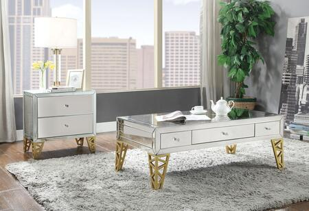 Stephen Collection 80610CE 2 PC Living Room Table Set with Rectangular Shaped Coffee Table and Rectangular Shaped End Table in Gold