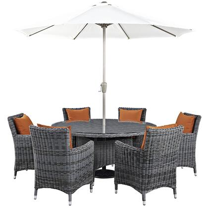 Summon Collection EEI-2329-GRY-TUS-SET 8-Piece Outdoor Patio Sunbrella Dining Set with Umbrella & Pole  Round Dining Table and 6 Armchairs in Canvas