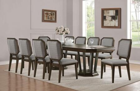 Selma Collection 6409010SET 11 PC Dining Room Set with Extendable Dining Table and 10 Grey Fabric Upholstered Side Chairs in Tobacco