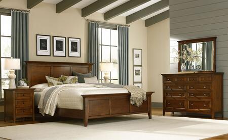 Westlake Wslcb5035 5-piece Bedroom Set With Queen Panel Bed  Dresser  Mirror And 2 Nightstands In Cherry Brown