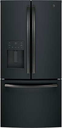 GE GYE18JEMDS Black Slate Series 33 Inch Counter Depth French Door Refrigerator with 17.5 cu. ft. Total Capacity, in Black Slate