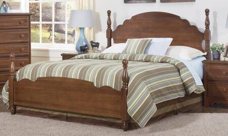 Carolina Crossroads Collection 317850-3-971500 Full Size Panel Bed with Panel Headboard & Footboard and Metal Slat-less Rails in Brown