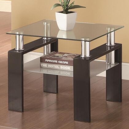 702287 Occasional Group 702280 End Table with Tempered Glass Top  Metal Legs and Frosted Glass Shelf in Black