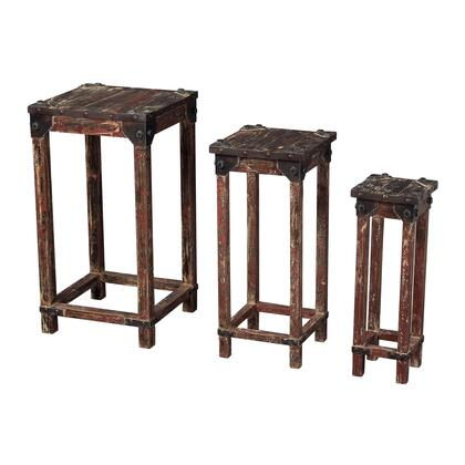 Table Collection 51-10035/S3 Set Of 3 Stacking Tables with Distressed Look  Square Shapes  Metal Bolts and Wood Construction in Heavily Distressed Deep Red