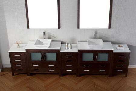 KD-700126-C-ZG Modern 12 Double Sink Bathroom Vanity Set Zebra Grey w/Polished Chrome
