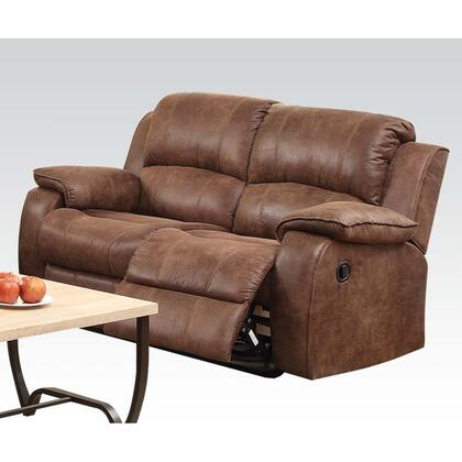 Zanthe II Collection 51441 62 inch  Reclining Loveseat with Wood and Metal Frame  Tight Cushions  Pillow Top Arms and Suede Upholstery in Two Tone Brown