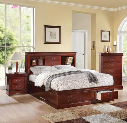 Louis Philippe III Collection 24380Q3SET 3 PC Bedroom Set with Queen Size Bed  Chest and Nightstand in Cherry