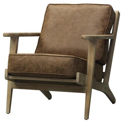 Albert Collection 3900024 Accent Chair with Brushed Smoke Frame and PU Leather Upholstery in Nubuck