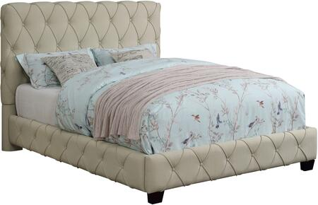 Elsinore Collection 300684T Twin Size Bed with Fabric Upholstery  Button Tufted Headboard and Sturdy Wood Frame Construction in