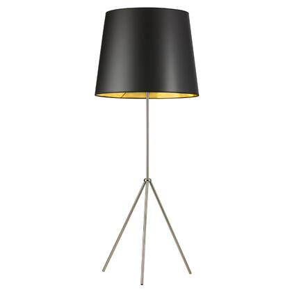 OD4L-F-698-SC 1 Light 3 Leg Oversize Drum Floor Lamp With Black On Gold Shade  Satin Chrome