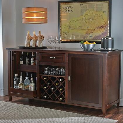 3351601 75 inch  Firenze Wine and Spirits Credenza with Removable Bottle Wine Rack and Sliding Pocket Door  in