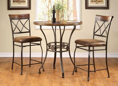 Tavio Collection 9606859 2 PC Bar Table Set with Counter Height Table + 2 Counter Height Chairs in Walnut and Dark Bronze