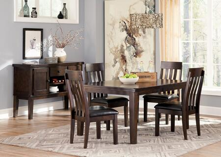 Haddigan 6-Piece Dining Room Set with Extendable Table  4 Side Chairs and Server Cabinet in Dark Brown