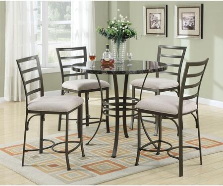 Daisy 70090BKT4WC 5 PC Bar Table Set with Counter Height Table + 4 White Chairs in Antique Bronze