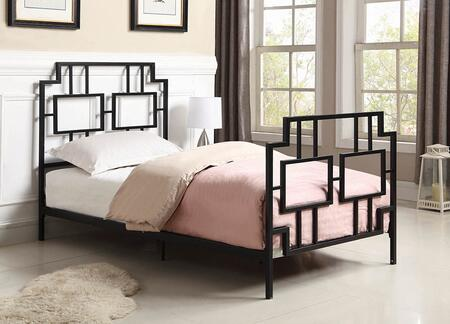 Penny Collection 302080T Twin Size Bed with Open-Frame Panel Design and Steel Metal Construction in