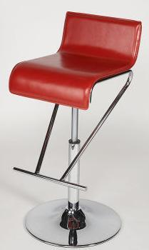 6122-AS-RED Pneumatic Gas Lift Adjustable Height Swivel Stool Finish in